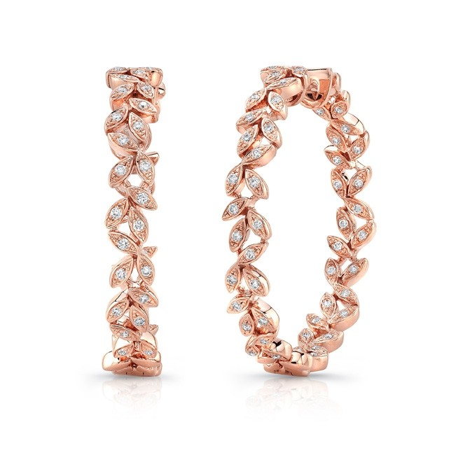 "Uneek ""Vine"" Inside-Out Diamond Hoop Earrings in 14K Rose Gold"