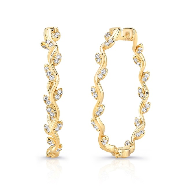 Uneek Formosa Inside Out Diamond Hoop Earrings In 14k Rose Gold