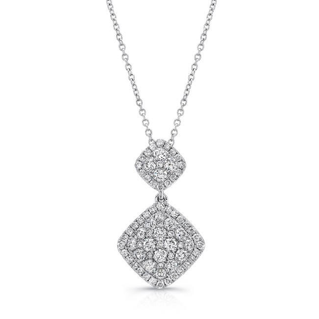 Uneek Double Tilted Cushion Diamond Cluster Pendant in 14K White Gold