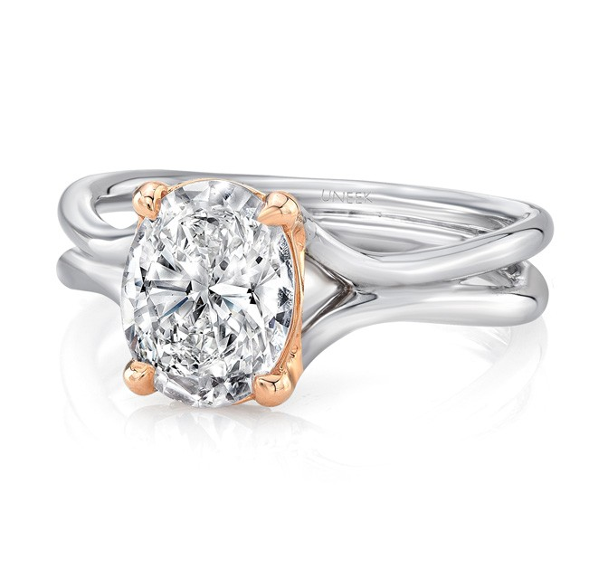 """Uneek Oval Diamond Solitaire Engagement Ring with High Polish White Gold """"Silhouette"""" Shank and Rose"""