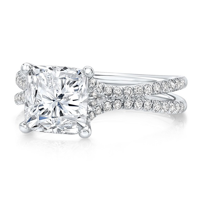 """Uneek 3-Carat Cushion Diamond Engagement Ring with Pave """"Silhouette"""" Double Shank, in Platinum"""