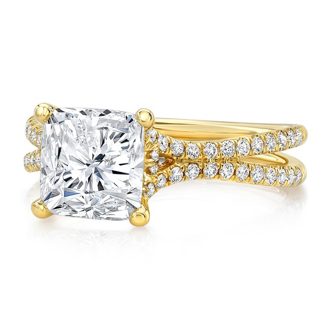 """Uneek 3-Carat Cushion Diamond Engagement Ring with Pave """"Silhouette"""" Double Shank, in 14K Yellow Gol"""