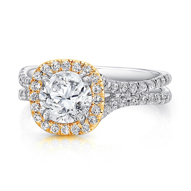 Uneek Round Diamond Engagement Ring with Cushion-Shaped Halo in Yellow Gold and Pave Double Shank in