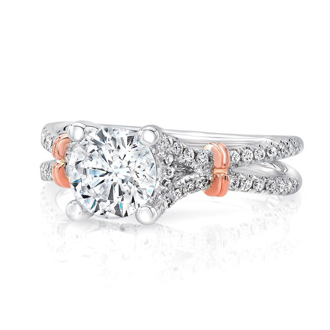 """Uneek Round Diamond  Engagement Ring with Pave """"Silhouette"""" Double Shank and Rose Gold Shoulder Acce"""