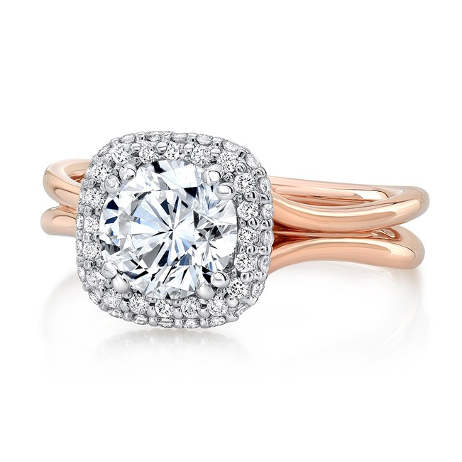 """Uneek Round Diamond Two-Tone Engagement Ring with Cushion-Shaped Bombé Halo and """"Silhouette"""" Do"""