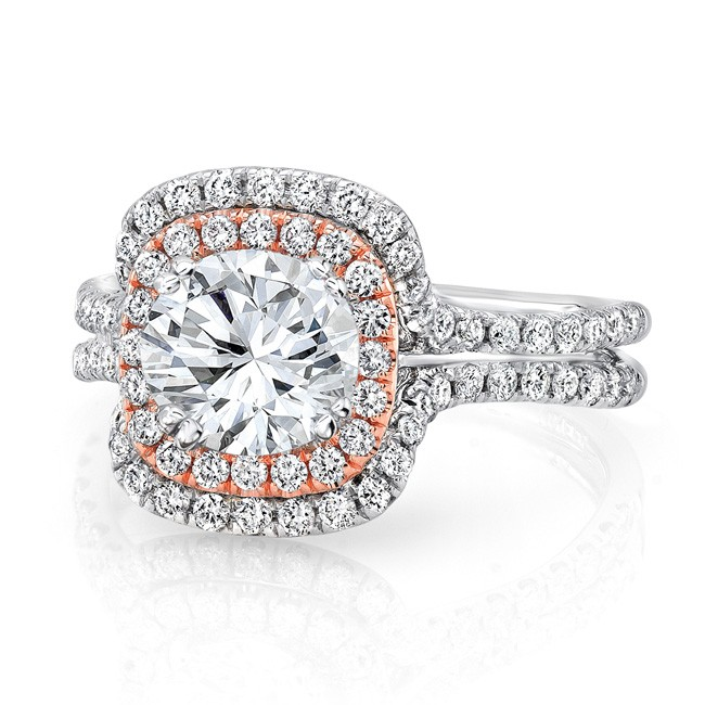 Uneek Round Diamond Engagement Ring with Two-Tone Double Cushion Halo and Pave White Gold Double Sha
