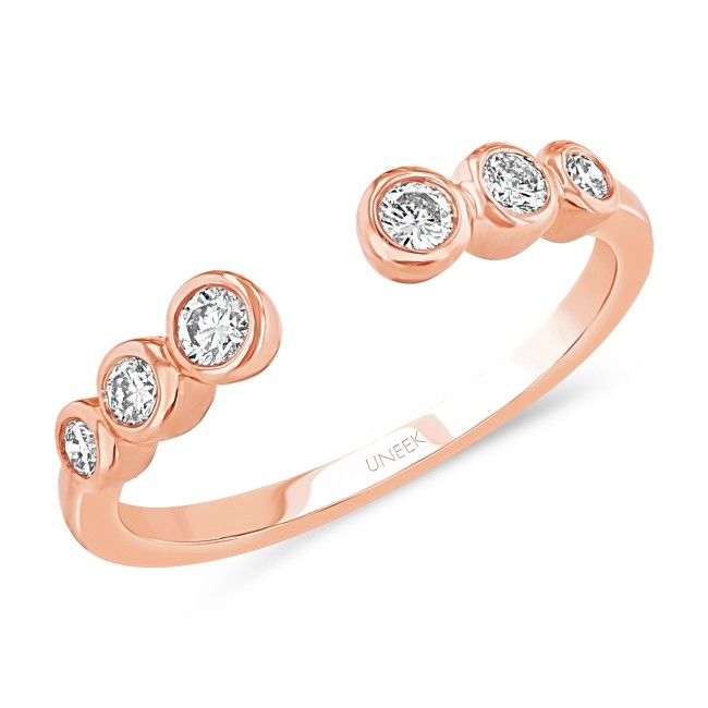 """Uneek """"Camden"""" Cuff-Style Diamond Stacking Ring in 14K Rose Gold"""