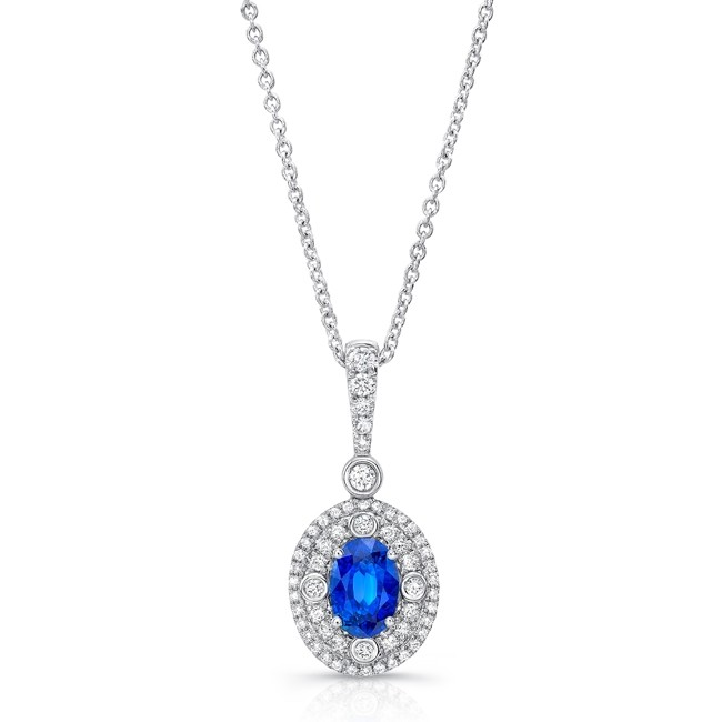 Uneek Oval Blue Sapphire Pendant with Double Halo and Accent Bezels, in 18K White Gold