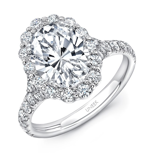 Uneek Oval Diamond Engagement Ring with Shared-Prong Round Diamond Halo and Pavé Shank, in 14K Whit