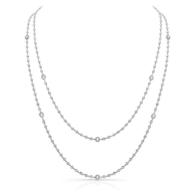Uneek Cascade Collection Diamonds-by-the-Yard Necklace with Pear-Shaped, Oval and Round Rose-Cut Dia