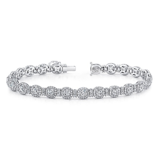 Uneek Round Diamond Bracelet with Cushion-Shaped Halos, in 18K White Gold