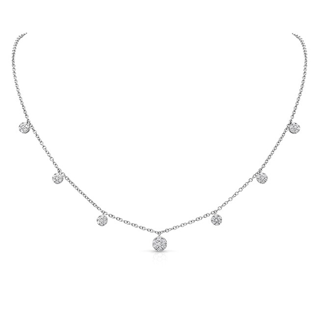 Uneek Cascade Collection Seven-Cluster Drop Necklace in 18K White Gold