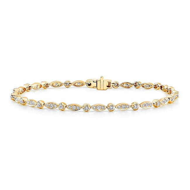 Uneek 14K Yellow Gold Diamond Bracelet with Navette-Shaped Clusters and Round Bezel Accents