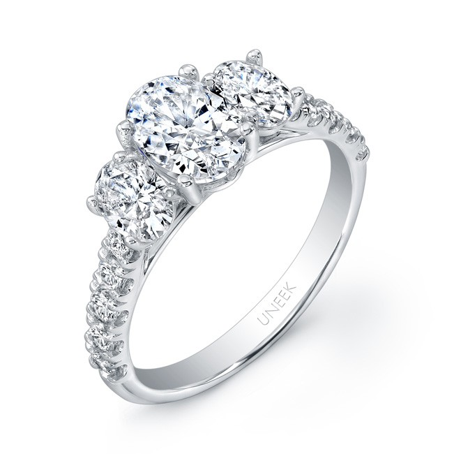 Uneek Oval Diamond Three-Stone Engagement Ring with Pave Upper Shank, in 14K White Gold
