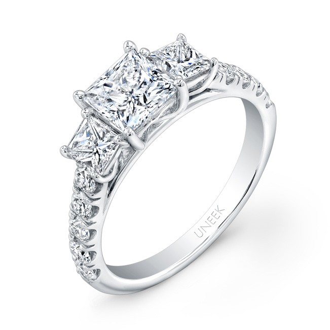 Uneek Princess-Cut Diamond Three-Stone  Engagement Ring with Pave Upper Shank, in 14K White Gold