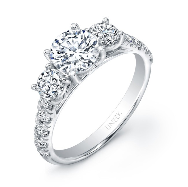 Uneek Round Diamond Three-Stone  Engagement Ring with Pave Upper Shank, in 14K White Gold