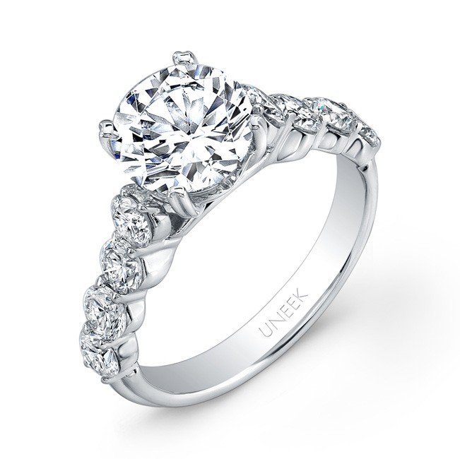 Uneek Round Diamond Engagement Ring with Large Melee Diamonds Shared-Prong Set on Upper Shank, in 14