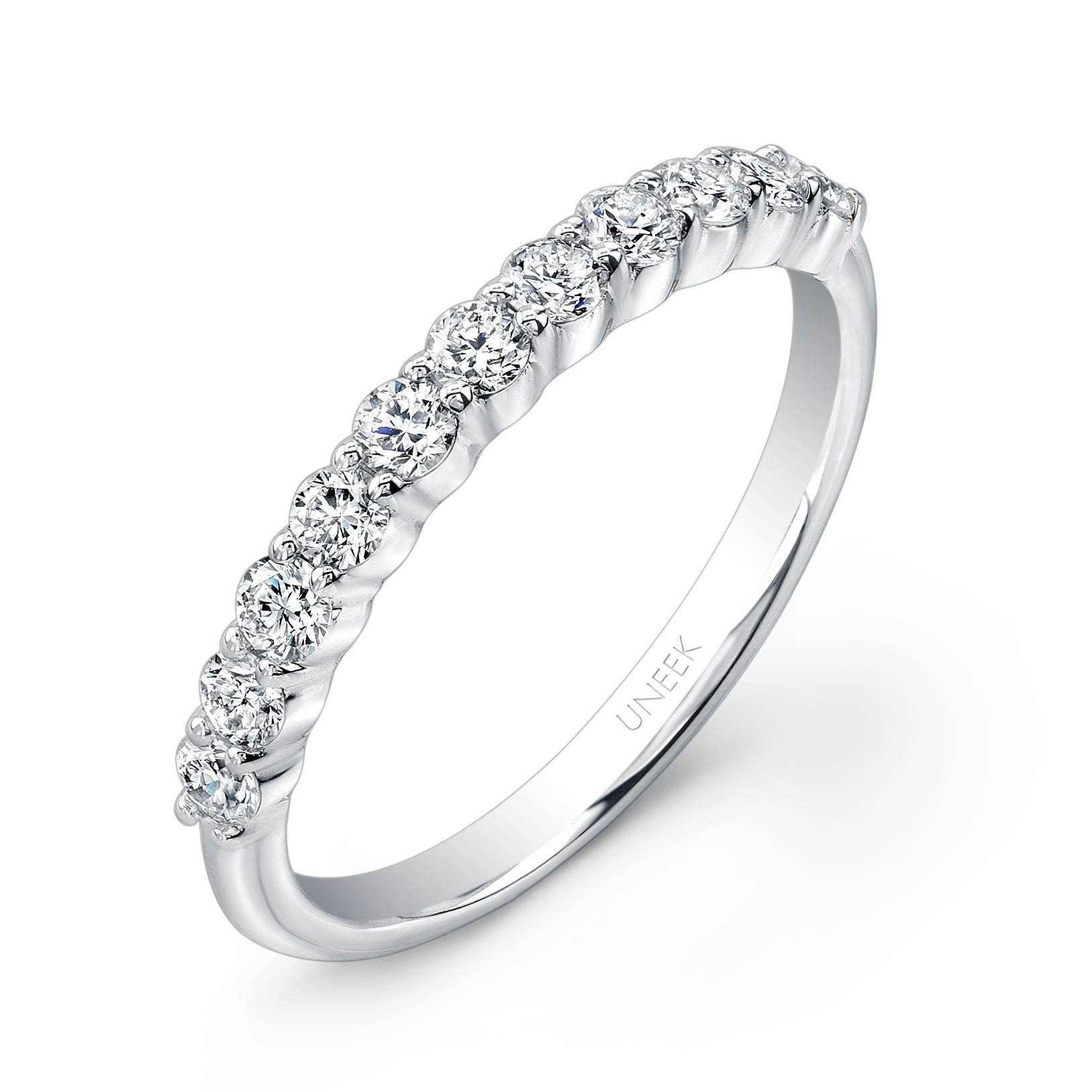 Uneek 11-Diamond Shared-Prong Wedding Band with Scalloped Edges, in 14K White Gold UWB012