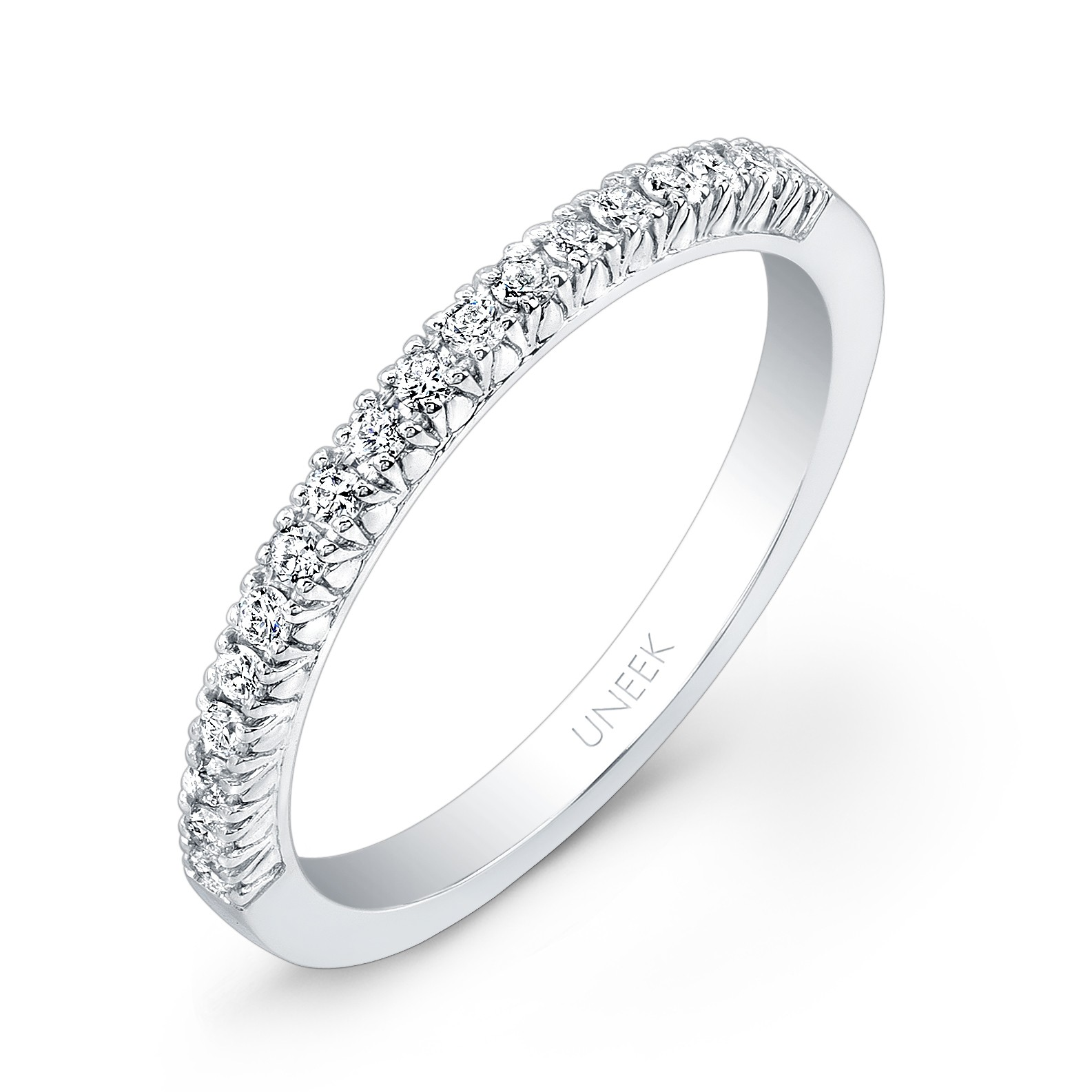 Uneek 18-Diamond French Pave Wedding Band in 14K W