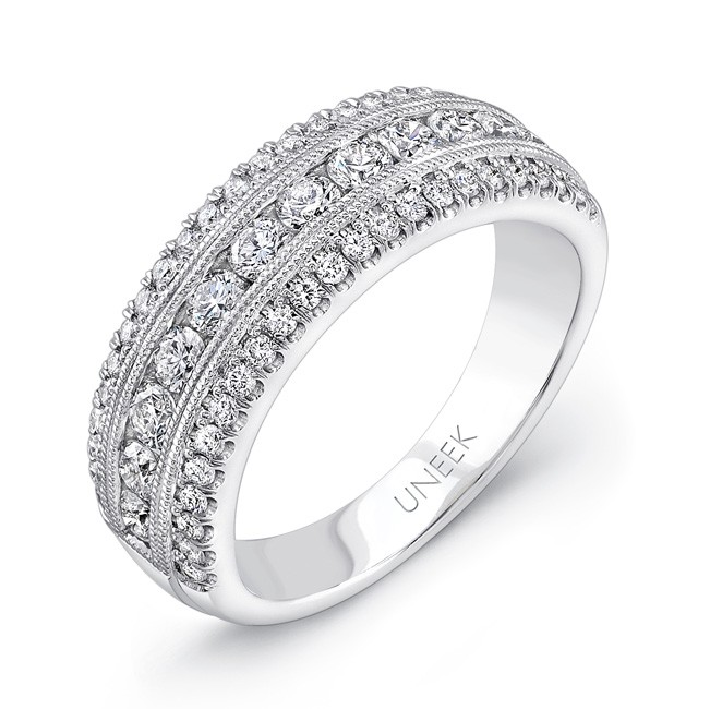 Uneek Wide Wedding Band With Three Row Channel And Pave Set