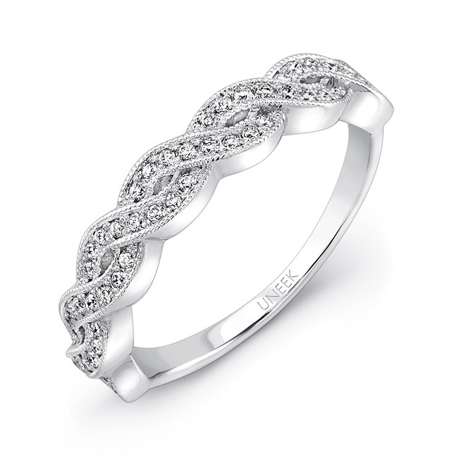 Uneek Crisscross/Twist Diamond Wedding Band in 14K White Gold
