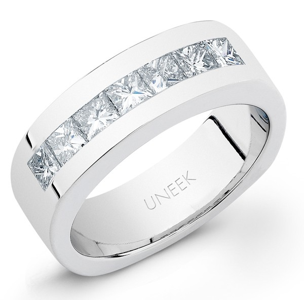 Uneek Men's Platinum Princess-cut Diamond Ring WB208