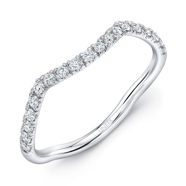 Infinity Wedding Band.Uneek Infinity Pave Diamond Contoured Wedding Band