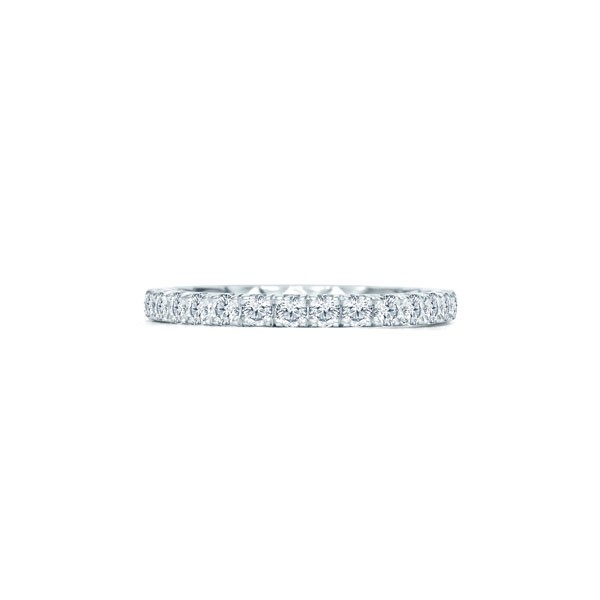 Halfway French Pave Quilted Anniversary Band